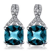 Silver 2ct London Blue Topaz Round Studs Earrings
