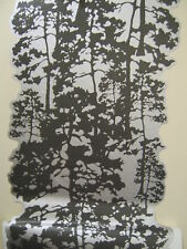 WOODLAND TREES GREY SILVER EFFECT WALL FEATURE DECOR WALL SCROLL  MATCHES BORDER