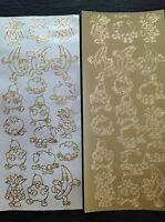 5 feuilles d/'or Mignon Nounours nouveau bébé Square peel off Autocollant Contour