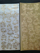 5 Sheets of GOLD CUTE FUNNY FRUIT Peel Off Outline Sticker Apple Banana Pear