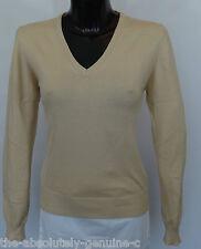 AQUASCUTUM Ladies DAMAS V NECK Jumper Sweater sz XL BEIGE BNWT