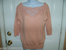 Forever 21 Peach Crochet Knit Shirt  Size M Women's  NWOT FREE USA SHIPPING