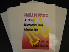 20 A3 Laser Copier Printer Clear Adhesive Sticker Film Sheets 80mic Paper Backed