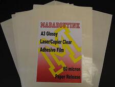 20 A3 Laser Fotocopiatrice Stampante chiaro Adesivo Adesivo Pellicola Fogli 80mic Carta supportata