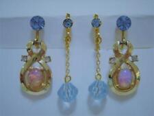 VINTAGE GOLD JELLY OPAL BLUE TOPAZ RHINESTONE AQUAMARINE GLASS DANGLE EARRINGS 2
