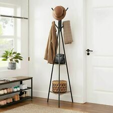 Tall Industrial Coat Rack Stand Hall Tree Shelf w/ Hooks Holder Clothes Hat Hang