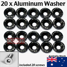 20pcs Billet Aluminum Fender Bumper Washer Bolt Engine Bay Dress Up Kit BLACK