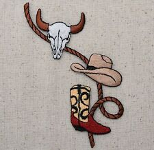 Iron On Embroidered Applique Patch Western Cow Skull Cowboy Hat Boots with Rope