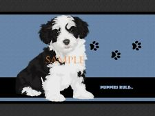 Puppies Rule Havanese Dog Paw Prints House Door Mat Doormat Floor Rug
