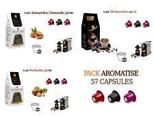 57 CAPSULES PACK AROMATISES NOISETTE AMANDE MOKACCINO COMPATIBLES NESPRESSO