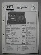 ITT/Schaub Lorenz Stereo Recorder 2600 HiFi Regie Service Manual, TB042