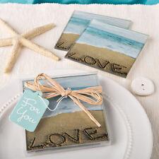 Beach Love Glass Coasters Beach Themed Wedding Favors - 2pk