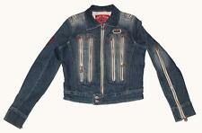 PEPE JEANS 9-Copper Colored Zippers Distressed Skinny Arms Denim Jacket Wms S