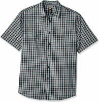 Dickies Mens Short Sleeve Button Down Shirt Relaxed Fit Small Blue Plaid
