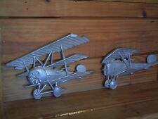 (F31) TWO VINTAGE ANTIQUE BI-PLANE & TRI-PLANE METAL WALL HANGINGS (PRE-OWNED)