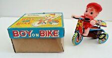 Vintage BOY ON BIKE Wind-Up TIN TOY in ORIGINAL BOX Celluloid Boy Tin Bike JAPAN