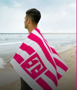 T-Mobile Beach Towel White & Magenta Stripe 28x58 - Free Shipping