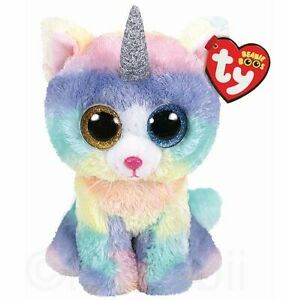 "OFFICIAL GENUINE TY BEANIE BOOS 6"" SOFT TOY PLUSH HEATHER CAT, KIDS GIFT, CHILD"