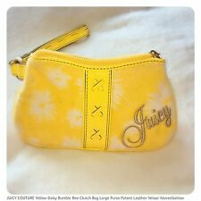 💛JUICY COUTURE Yellow Leather Velour Daisy Bee Clutch Bag Purse FAST📮🌻🐝