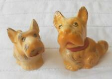 VINTAGE 1930S ORANGE LUSTRE WESTIES DOGS MINIATURE SUGAR & CREAMER MADE JAPAN