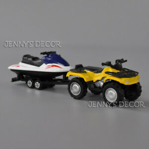 1:50 Diecast Metal Quad ATV With Jet-Ski Trailer Model For Kids Toys Gifts