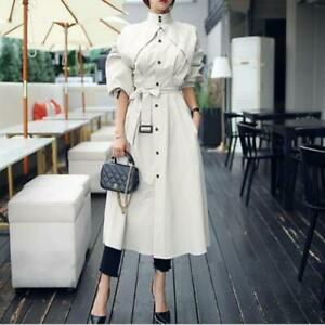 Womens New Fashion Stand Collar Puff Sleeve Belt Thin Long Trench Coat Dress SKG