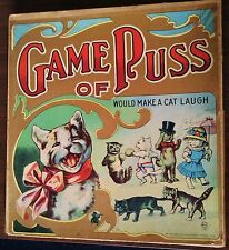 "Game Of Puss MB  Circa 1910  Would Make A Cat Laugh 16""X15"" Black Cat Big Game"