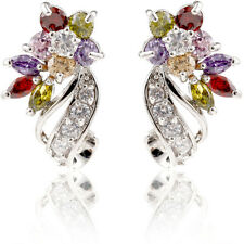 Vogue Colorful Crystal Shining Silver Gems Women Party Stud Earrings Jewelry