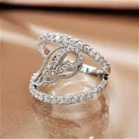 Luxury 925 Silver White Sapphire Angel Wings Ring Wedding Women Jewelry Gifts