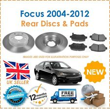 For Ford Focus MK2 2004-2012 Two Rear Solid 280MM Brake Discs & Brake Pads Set