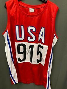 Carl Lewis Signed USA Olympic Track Jersey Autographed AUTO JSA COA Sz XL