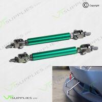 2 x Green Adjustable Front Bumper Support Tie Rod Bar Kit Splitter Lip Strut