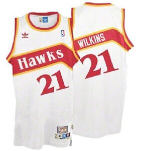 Dominique Wilkins #21 Atlanta Hawks Men's adidas White Jersey