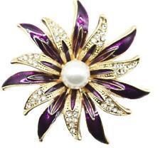 BROOCH Purple Enamel  Rhinestone Pearl Flower Brooch Pin-on Fashion Jewellery