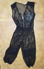NWOT Capri mesh coverall Black Zipperfront Hiphop Costume Petite adult fishnet