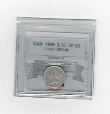 **1886 LgKn6 Obv.#4**, Coin Mart  Graded Canadian,  10  Cent, **VF-20**