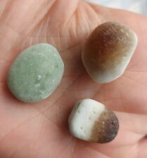 3 Sea Glass Multis Dragons Egg Candy Corn Rare Green Brown on Opaque White