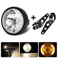 "Black Bracket Mount Universal 7"" Motorcycle Bike Headlight LED Turn Signal Light"