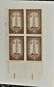 Petroleum Industry 4 Cent Postage Stamps Block of 4 Unused