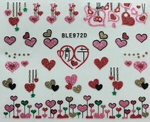 Nail Art 3D Glitter Decal Stickers Hearts Pink Red Gold Valentine's Day BLE972D