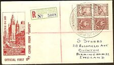 1950 Australia Melbourne ANPEX Philatelic Exhibition Registered Cover to GB / UK