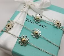 """Tiffany & Co Silver 18k Gold Daisy 5 Five Flower Necklace 27"""" Paloma Picasso"""