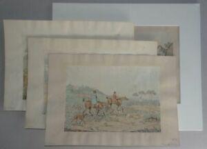 Jagdszenen mit Reiter und Hunden - 4 kol. Lithographien - Henry Alken - 1830