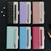 Zipper Flowers Wallet Leather Flip Case Cover For Xiaomi A3 Redmi Note 8 Note 7