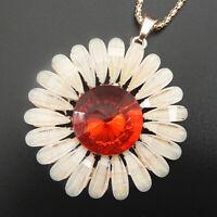 Betsey Johnson Red White Resin Crystal Sunflower Pendant Long Necklace