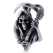 Grim Reaper Skull Sickle Gothic Mendino Men's Stainless Steel Pendant Necklace