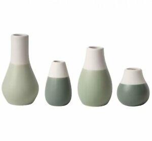 Rader Set 4 MINI VASE Flower Pots WHITE & GREEN Ceramic Räder