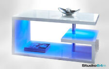 Alaska Modern Luxury Stylish White High Gloss Coffee Table With Blue LED Lights