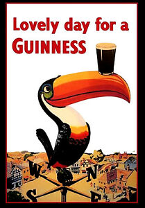 -A3- Lovely Day for A Guinness - Retro Vintage Alcohol Bar Pub Posters #34