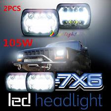 "Square  5x7 7x6"" inch 105W LED Headlight For Jeep Wrangler YJ Cherokee XJ Trucks"